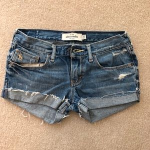 Abercrombie kids distressed jean shorts